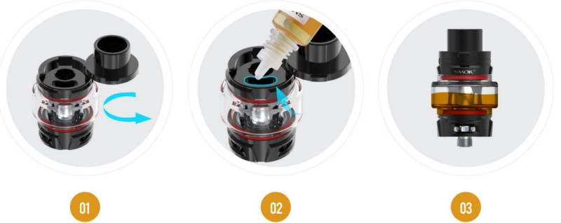 TFV8 Baby V2 tank supports slide-filling